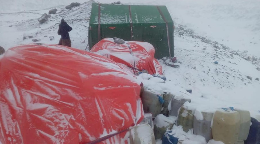 Loads in K2 BC waiting for the International Winter K2 Expedition