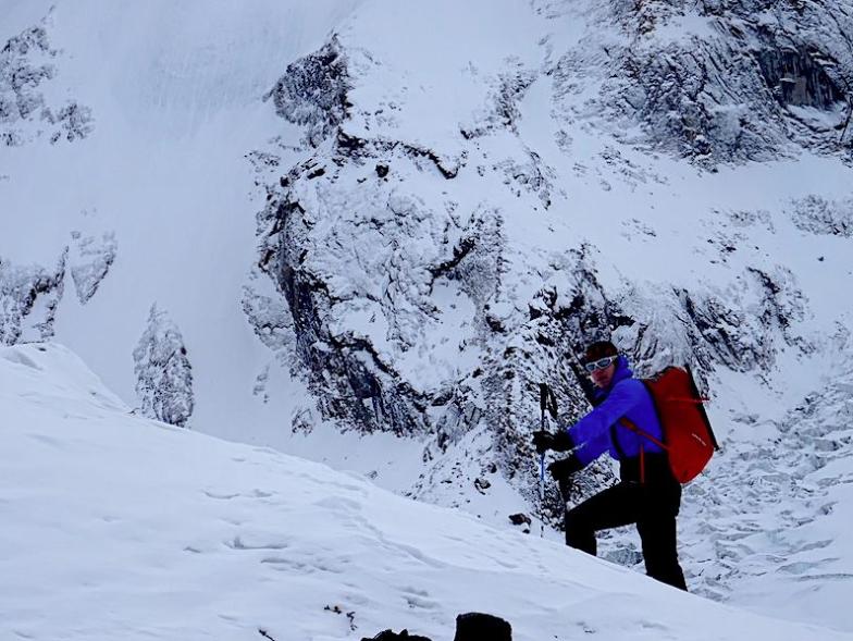 Climbing on the lower slopes of winter Nanga Parbat