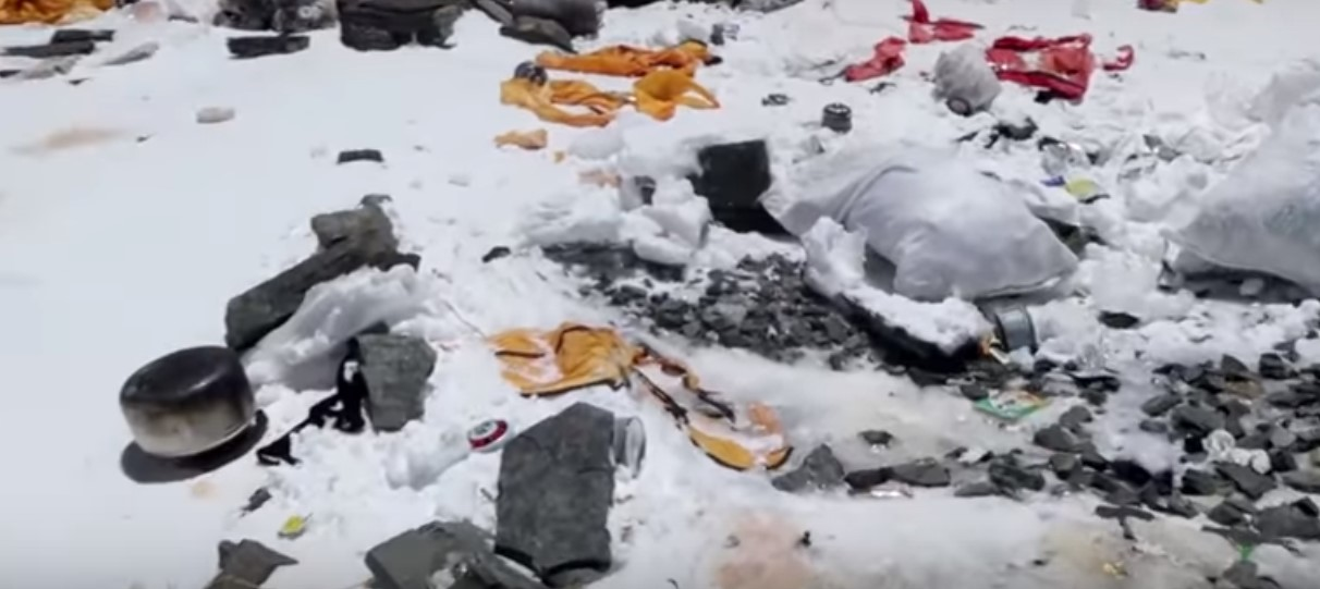 GArbage retrieved from Mount everest during a cleaning campaign in June, 2018