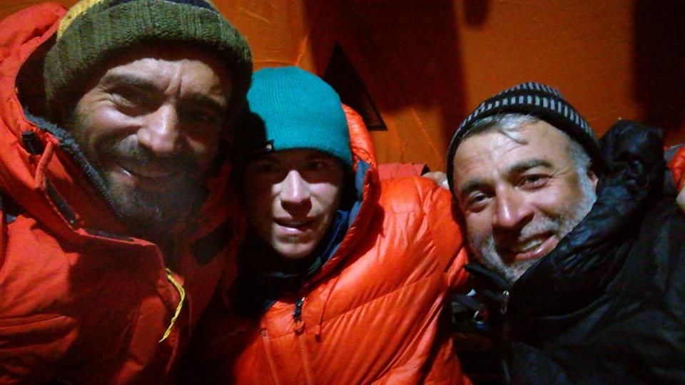 Winter Nanga Parbat team members Daniele Nardi (left), Tom Ballard (centre) and Rahmat Ullah Baig.