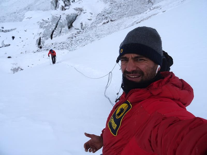 Daniele Nardi leading on Nanga Parbat's lower sections towards Camp 1, Tom Ballard behind. Photo: Daniele Nardi on FaceBook