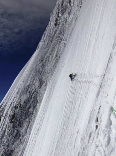 Nakajima and Hiraide climbing alpine style on Sisppare's NE face