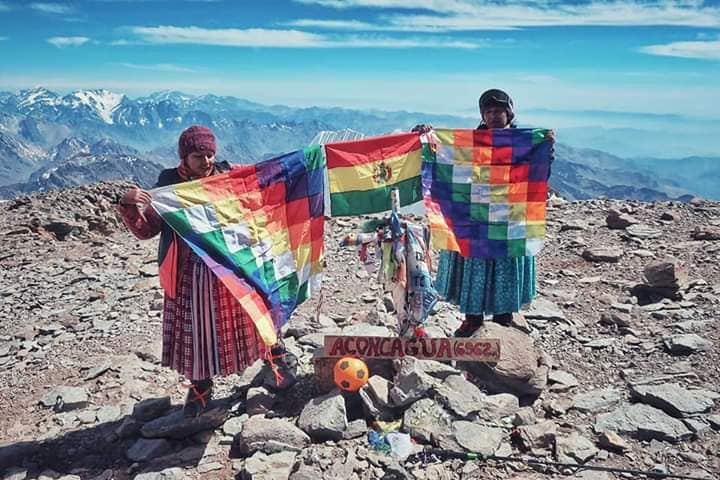 Bolivian Cholitas on Anconcagua