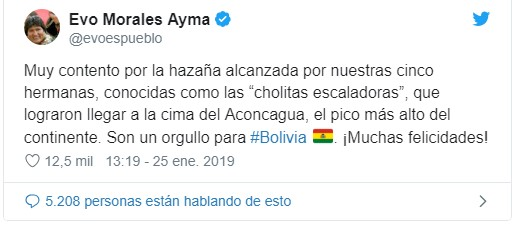 "Evo Morales tweet praising ""Cholitas Escaladoras"" after their Aconcagua summit"