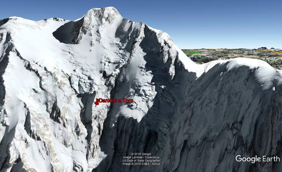 Tracker showing Daniele Nardi and Tom Ballard's last reported position on Nanga Parbat's Mummery Spur