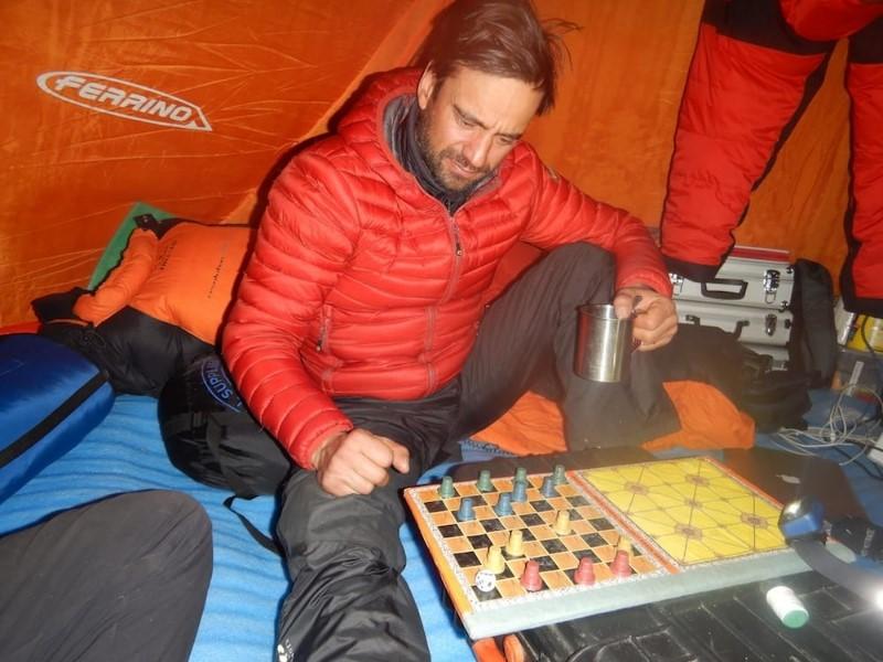 Daniele nardi on winter Nanga Parbat base Camp, 4100 meters