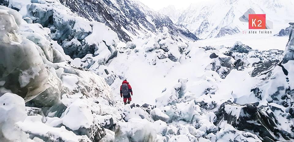 Alex Txikon towards the summit of winter K2