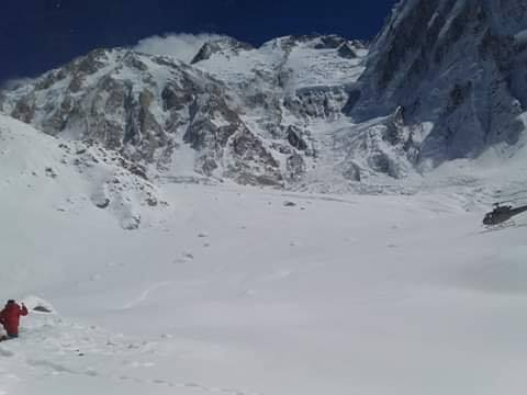 Search and rescue Helicopter landing at the foot of Nanga Parbat'