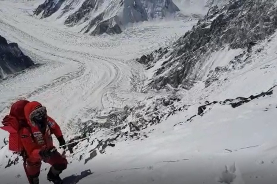 Alex Txikon team member above 7,000 meters on winter k2, March 17, 2019