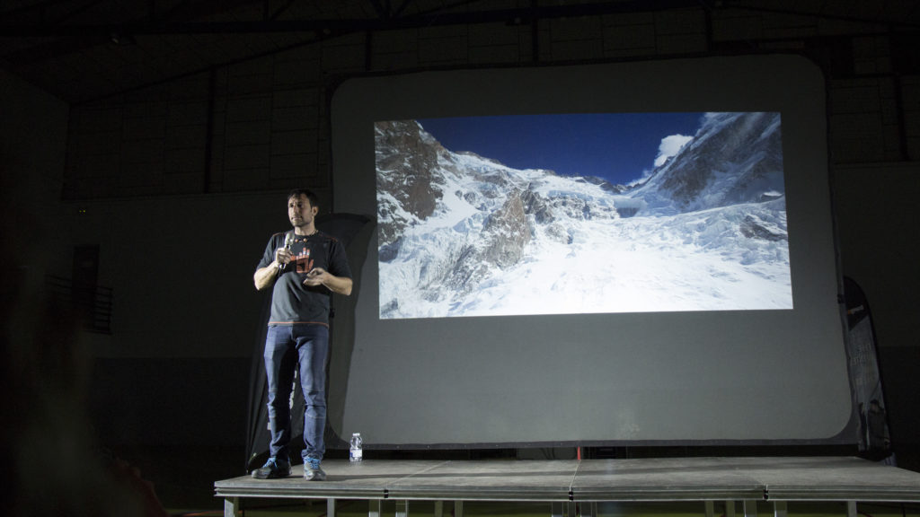 Alex Txikon lecturing about Nanga Parbat rescue operation, winter 2019