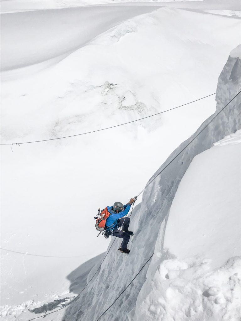 Jumaring up a vertical section between C1 and C2 on Everest South Side.