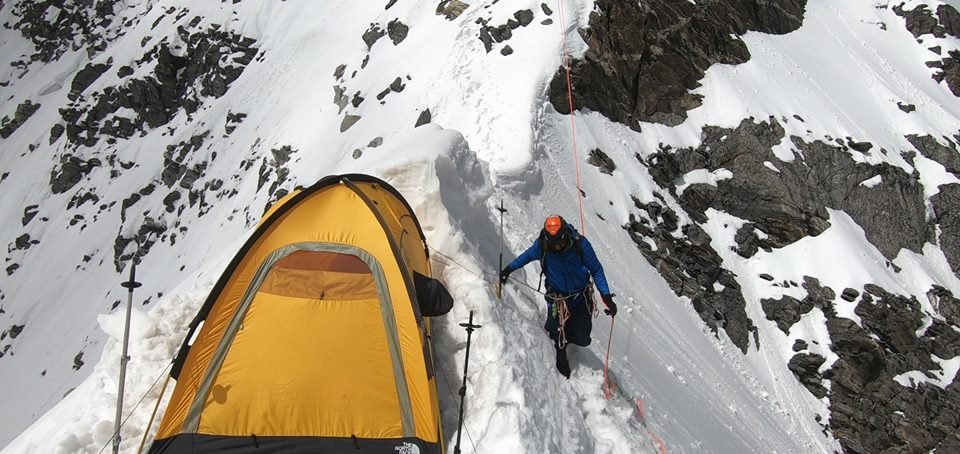 Camp 1 on Langtang Lirung. Image by Adam Bielecki and Felix Berg.
