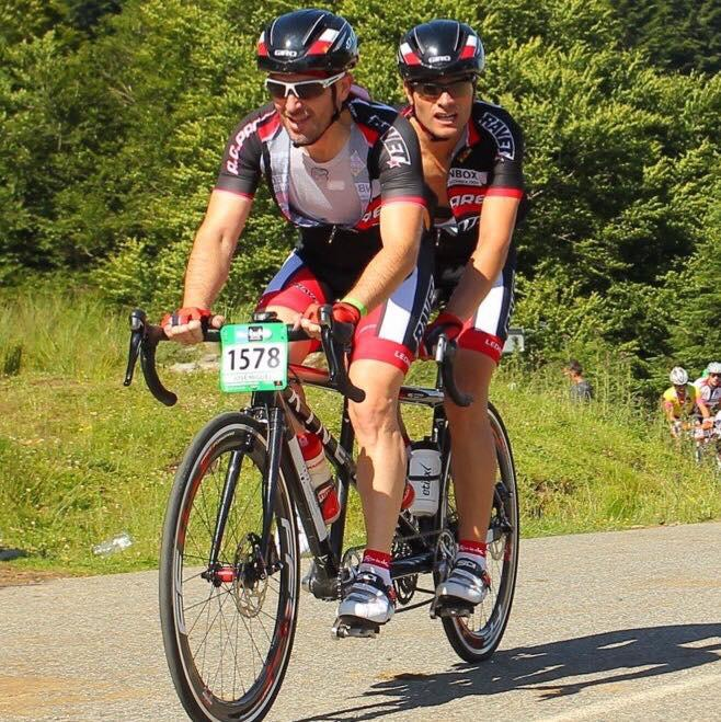 Sergi Mingote teaming up with a visually unpaired sportman on a tandem.