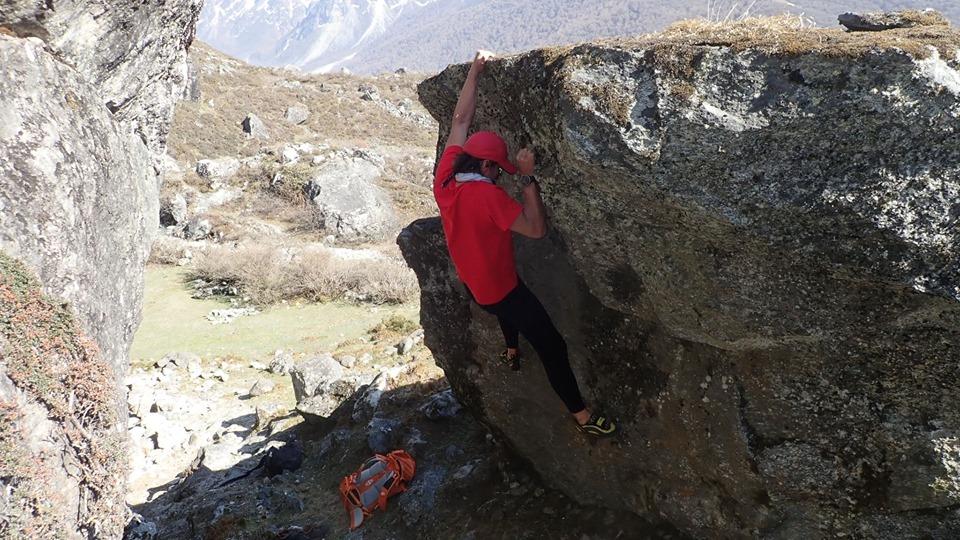 Adam Bielecki buldering around Langtang Lirung Base Camp. Image by Adam Bielecki.