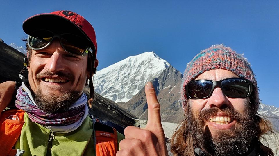 Adam Bielecki and Felix Berg in front of Lantang Lirung