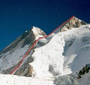 New route planned by Denis Urubko on Gasherbrum II. Photo: Urubko's Facebook