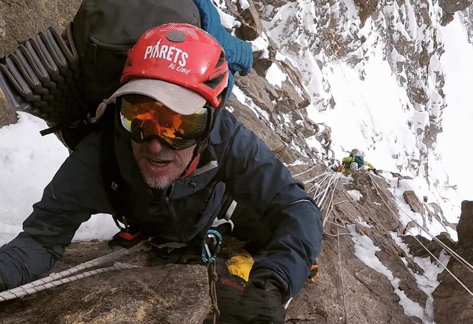 Sergi Mingote climbing in Pakistan (Kinshoffer wall on Nanga Parbat) last year. Photo: Sergi Mingote