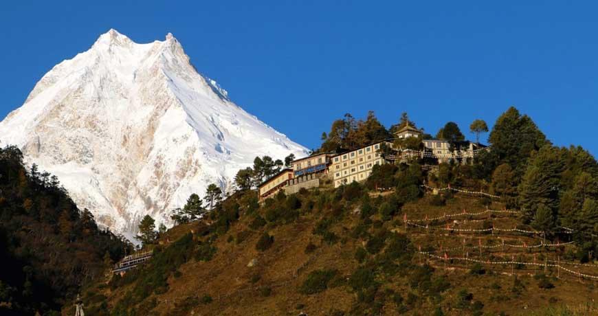 Mt. Manaslu from Manaslu Circuit Trek