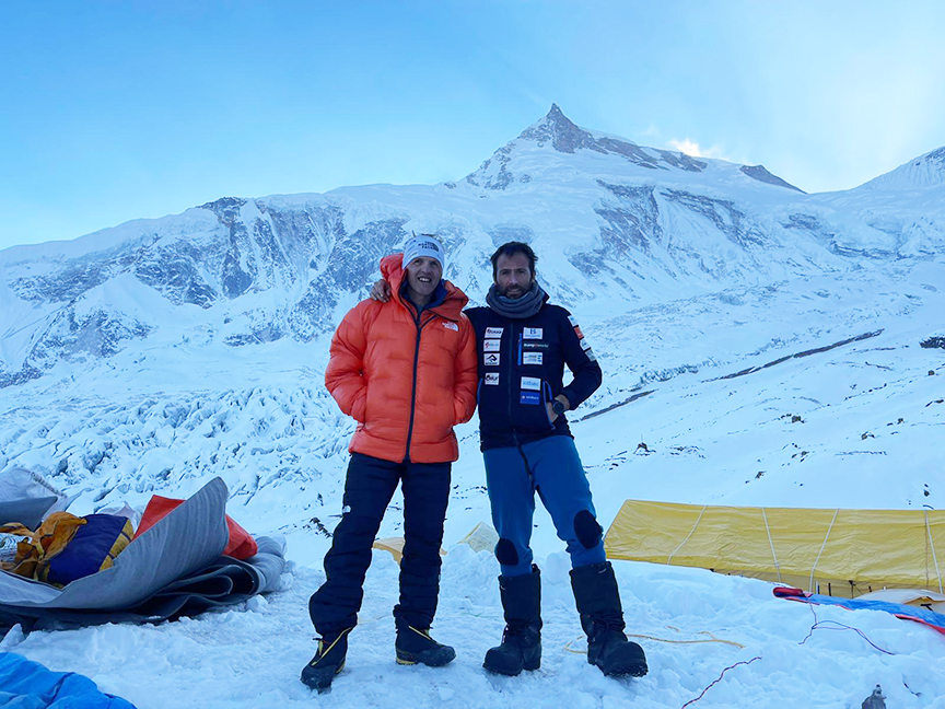 Partners Moro and Txikon in Base Camp