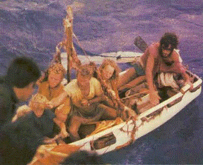Robertson family at the moment of rescue