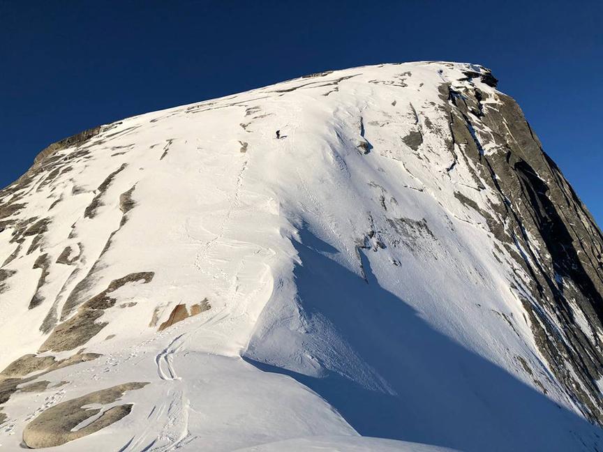 ski tracks on Half Dome