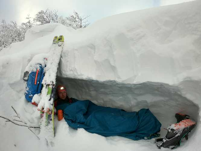 In a snow cave