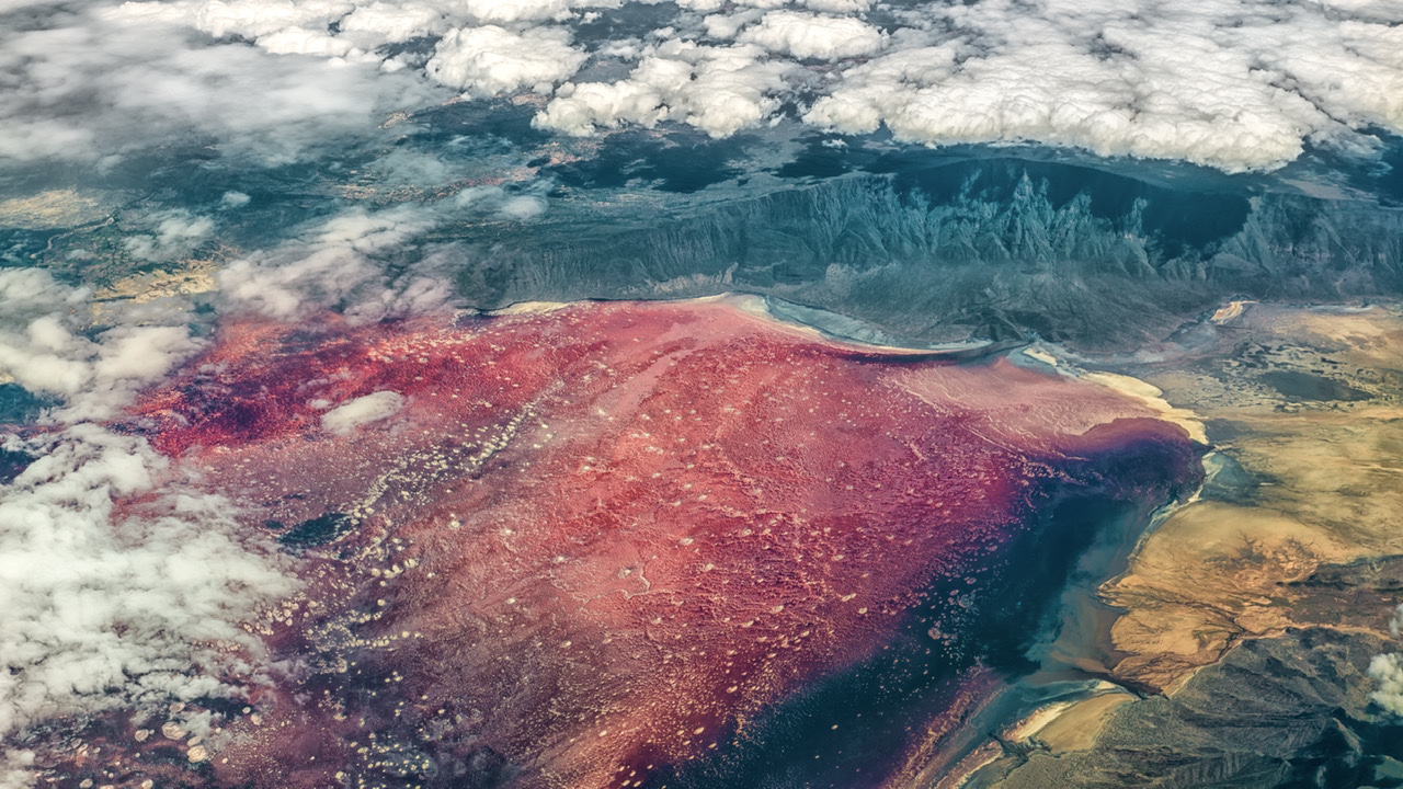Aerial view of red-colored lake