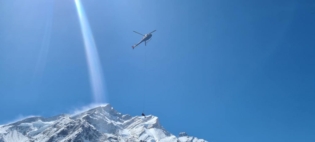 A helicopter rescue on Annapurna