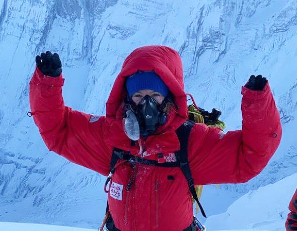 Climber on the summit of Annapurna
