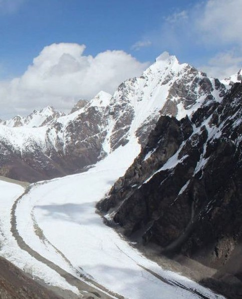 Karakorum peak and foreground glacier