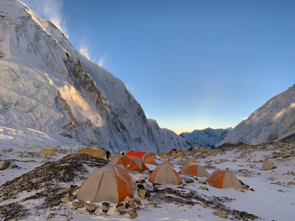 Camp 2 on Everest in the shade