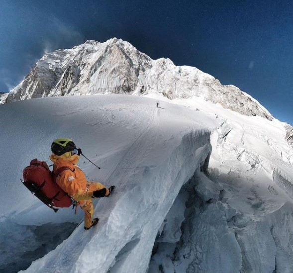 A Climber in the Khumbu Icefall on Everest