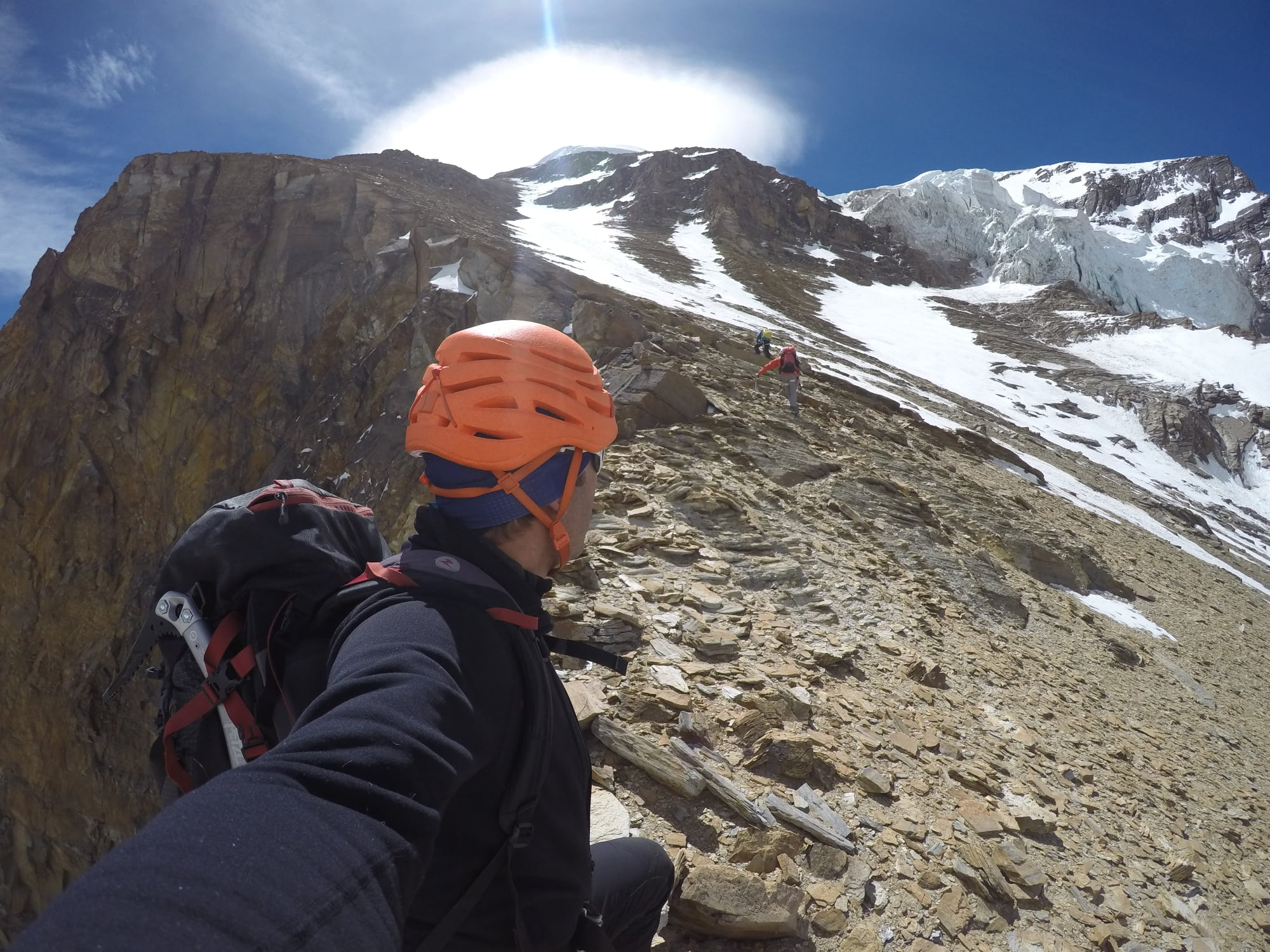 Selfie of a climber and his two partners on Dhaulagiri