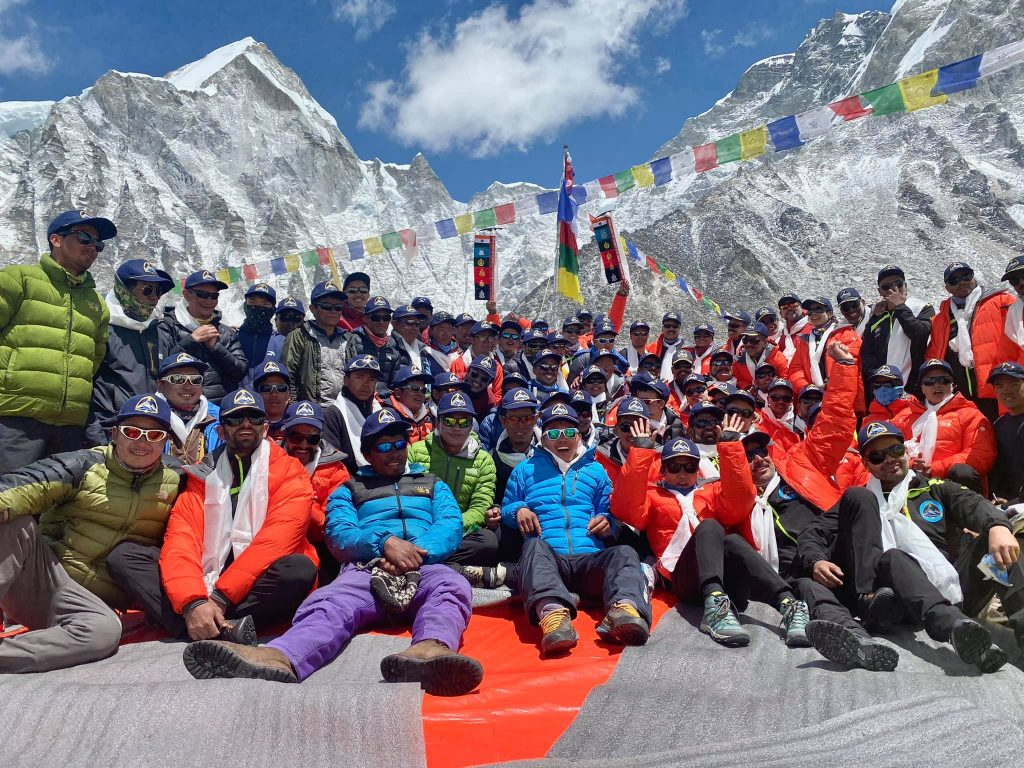 A crowd at Everest Base Camp