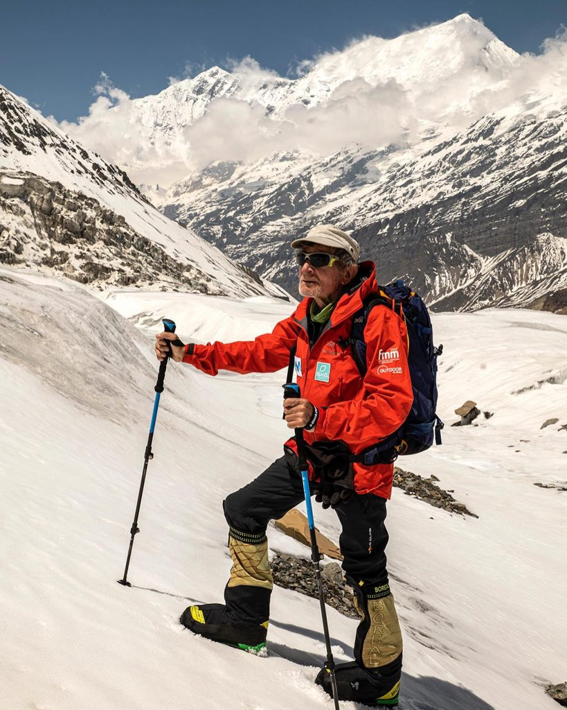 82-year-old climbers on a snowy Dhaulagiri slope
