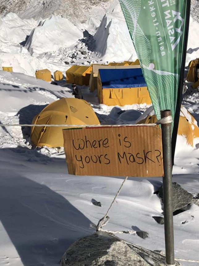 Everest Base Camp sign about masks