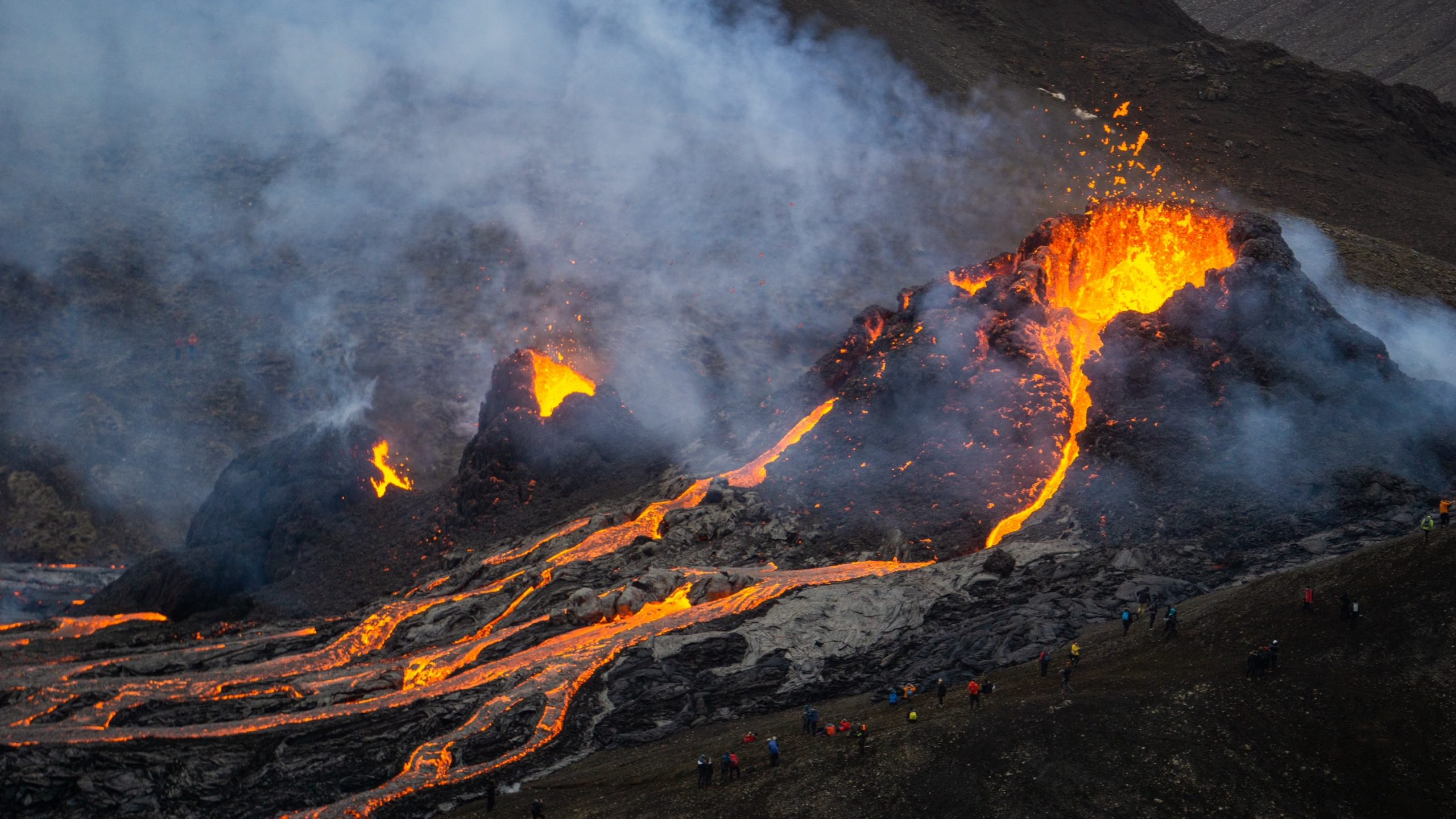 Lava flows from newly formed craters
