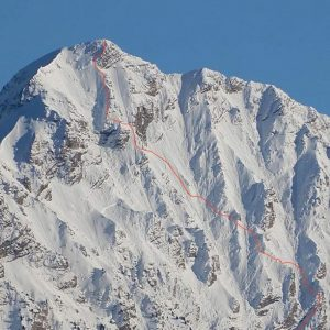 First Ski Descent of the West Face of Mont Pouzenc