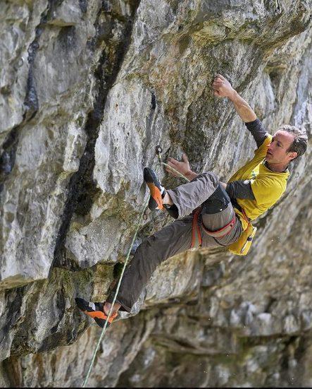 Climber on rock wall