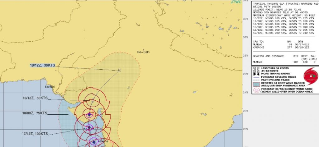 Weather map ofacyclone in western India
