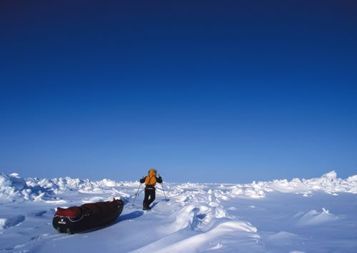 Polar skier manhauling across ice