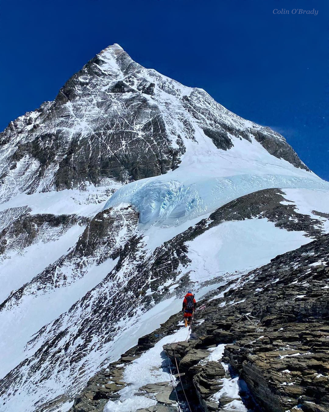 rock, snow, and ice on the Everest summit pyramid.