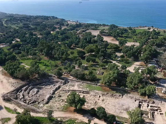 Aerial view of the archaeology site
