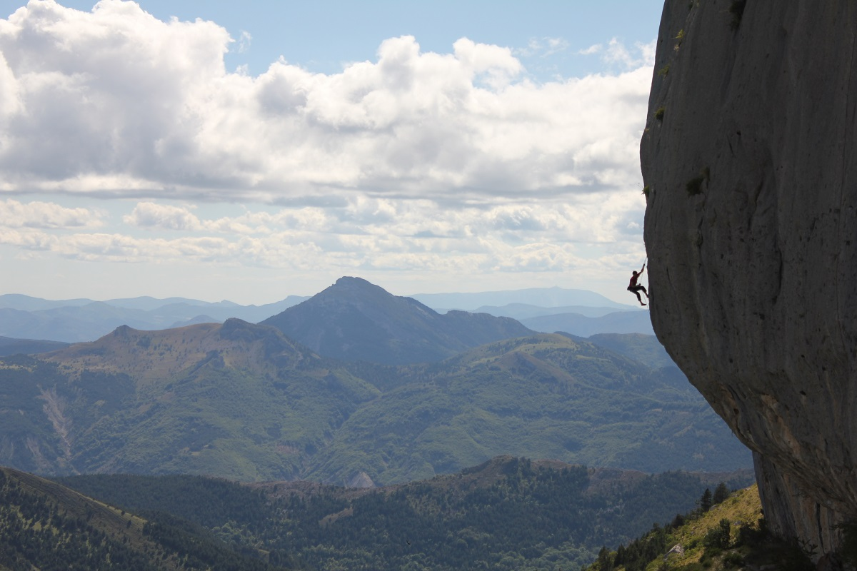A man takes on an advanced-level sport climbing route in Ceuse, France — home to some of the world's most difficult routes. Photo: Shutterstock