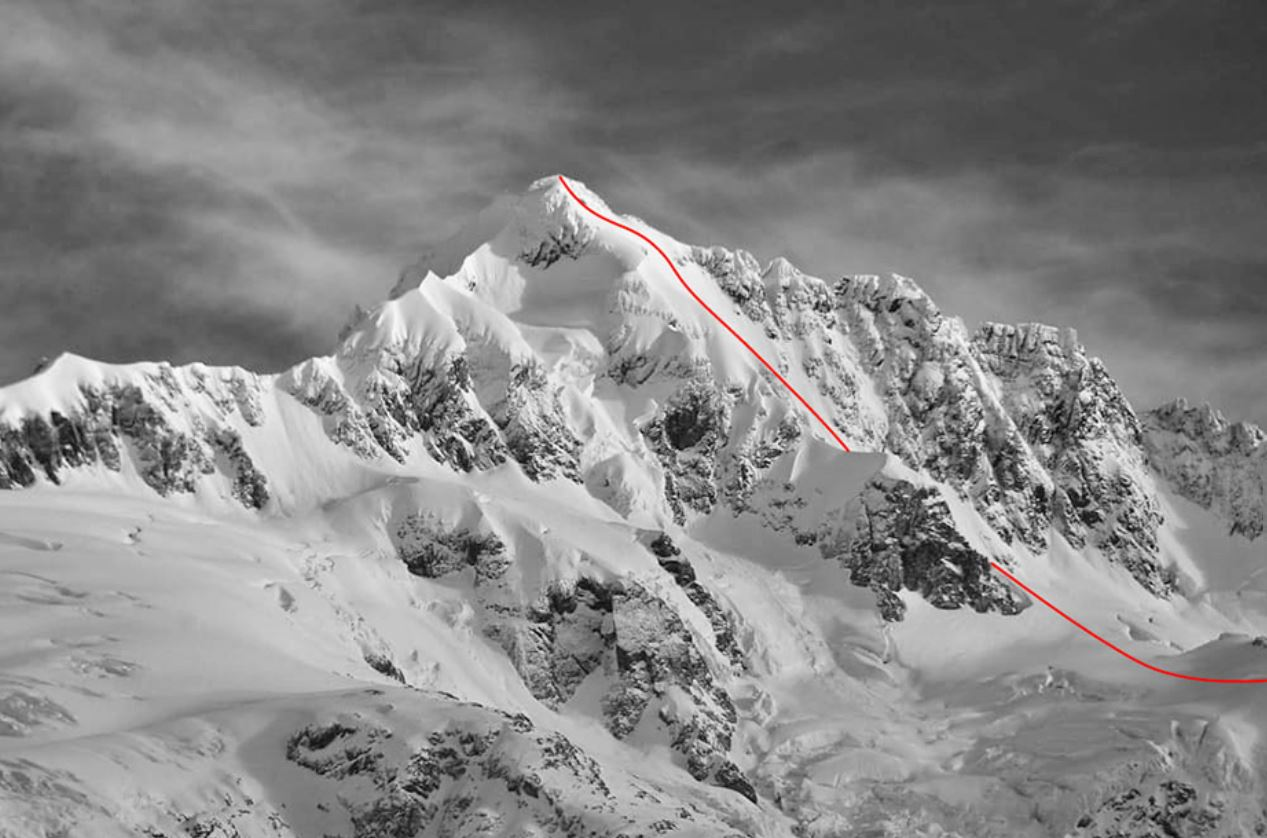 Cerro Pinuer winter ski descent line
