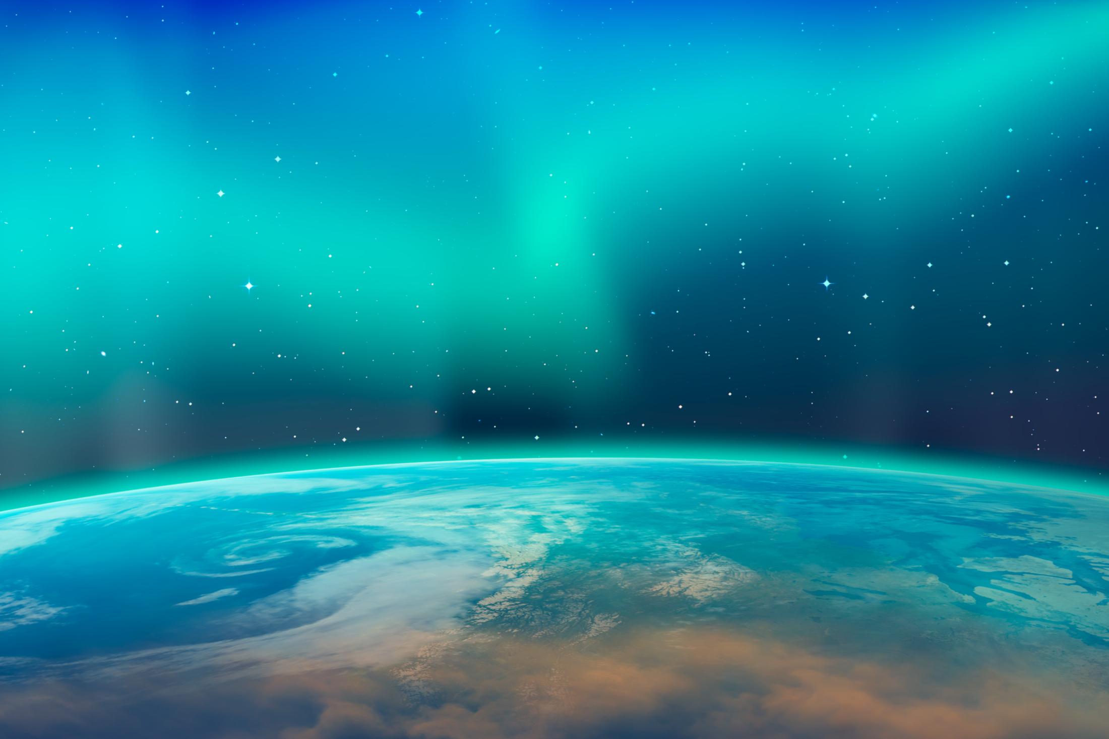 Aurora borealis aka northern lights. Elements of image furnished by NASA. Image_ Mura T, Shutterstock