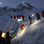 Walking in the dark on Everest. Image by Seven Summit treks