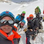 Sherpa climbers near the summit of Everest