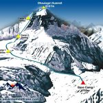 Route map of the normal way up Dhaulagiri